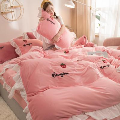 2020新款水晶绒毛巾绣荷叶边少女系列四件套 2.0m床单款 草莓-玉粉