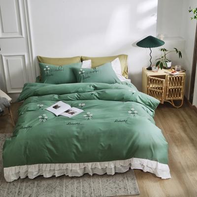 2020新款全棉40s韩版绣花四件套 1.8m床单款四件套 花语-豆绿