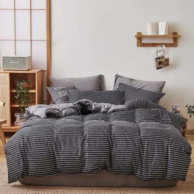 无印良品针织四件套 1.5m(5英尺)床 黑白条纹