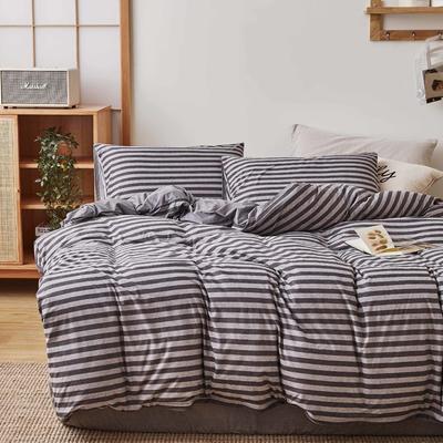 无印良品针织四件套 1.5m(5英尺)床 灰条纹