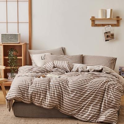 无印良品针织四件套 1.5m(5英尺)床 咖条纹