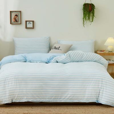 无印良品针织四件套 1.5m(5英尺)床 蓝色条纹