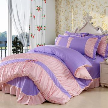 伊宁家纺   韩版蝴蝶结床单式四件套