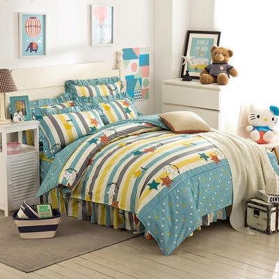 床裙床笠式床罩四件套纯棉床裙四件套 1.5m(5英尺)床 燃亮之星