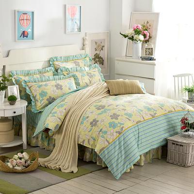 床裙床笠式床罩四件套纯棉床裙四件套 1.8m(6英尺)床 神秘梦境黄