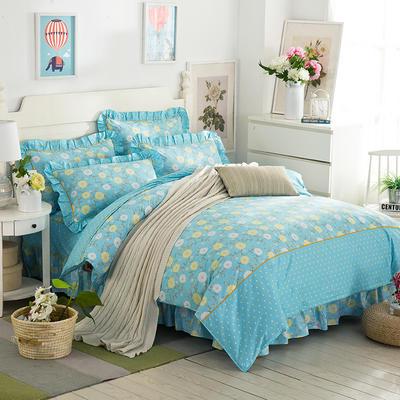 床裙床笠式床罩四件套纯棉床裙四件套 1.8m(6英尺)床 微雨夜罗蓝