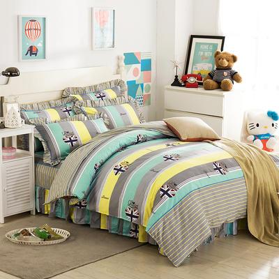床裙床笠式床罩四件套纯棉床裙四件套 1.8m(6英尺)床 爱语心田