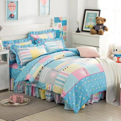 床裙床笠式床罩四件套纯棉床裙四件套 1.5m(5英尺)床 星空畅想
