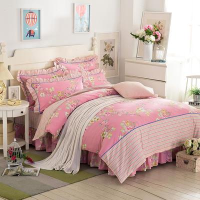 床裙床笠式床罩四件套纯棉床裙四件套 1.5m(5英尺)床 星流飘香粉