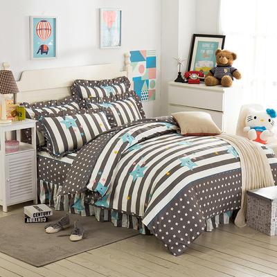 床裙床笠式床罩四件套纯棉床裙四件套 1.8m(6英尺)床 星影之恋