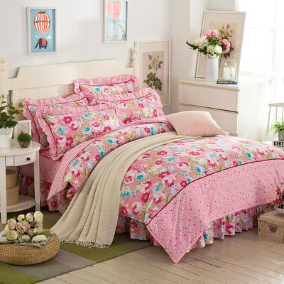 床裙床笠式床罩四件套纯棉床裙四件套 1.8m(6英尺)床 韵味