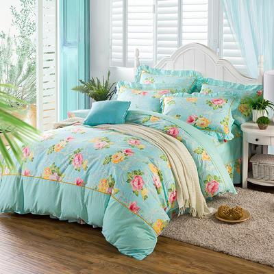 床裙床笠式床罩四件套纯棉床裙四件套 1.5m(5英尺)床 醉美蓝
