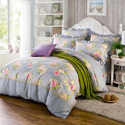 床裙床笠式床罩四件套纯棉床裙四件套 1.5m(5英尺)床 醉美灰