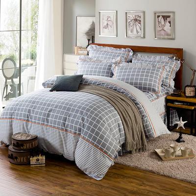 床裙床笠式床罩四件套纯棉床裙四件套 1.5m(5英尺)床 时代印象灰