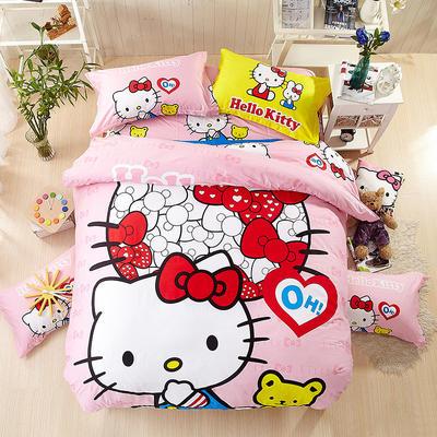 全棉卡通大阪花套件学生儿童三件套 四件套纯棉 小号三件套 凯蒂猫