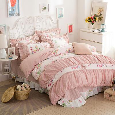 伊宁家纺   韩版蝴蝶结床单式四件套 1.5m(5英尺)床 花语风情