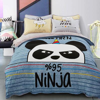 大版卡通法莱绒四件套   保暖四件套 1.8m(6英尺)床 欢乐佩奇