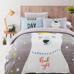 大版卡通法莱绒四件套   保暖四件套 1.8m(6英尺)床 贪睡熊