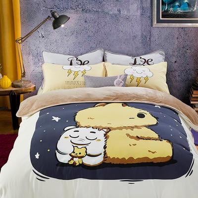 大版卡通法莱绒四件套   保暖四件套 1.8m(6英尺)床 小可爱
