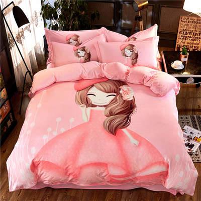 高清数码印花磨绒(水晶绒)保暖四件套 1.8m(6英尺)床 甜心宝贝