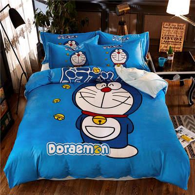 高清数码印花磨绒(水晶绒)保暖四件套 1.5m(5英尺)床 叮当猫