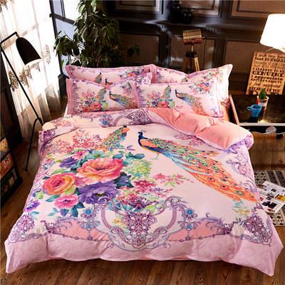 高清数码印花磨绒(水晶绒)保暖四件套 1.8m(6英尺)床 时光流影