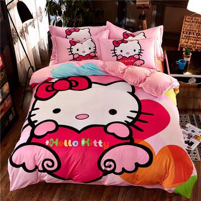 高清数码印花磨绒(水晶绒)保暖四件套 1.8m(6英尺)床 天使猫咪