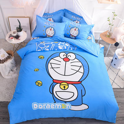 纯棉大版卡通四件套学生宿舍活性儿童三件套 床单床笠1.2m 1.5m 1.8m 床上用品 四件套纯棉 1.8m(6英尺)床 叮当猫