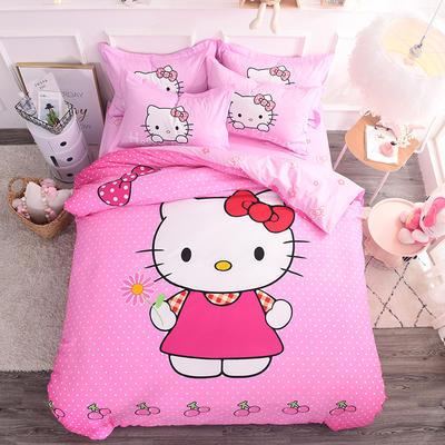 纯棉大版卡通四件套学生宿舍活性儿童三件套 床单床笠1.2m 1.5m 1.8m 床上用品 四件套纯棉 1.8m(6英尺)床 粉色生活