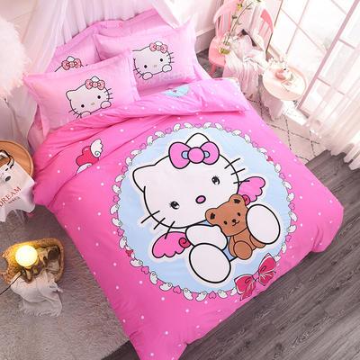 纯棉大版卡通四件套学生宿舍活性儿童三件套 床单床笠1.2m 1.5m 1.8m 床上用品 四件套纯棉 1.8m(6英尺)床 浅粉色天使