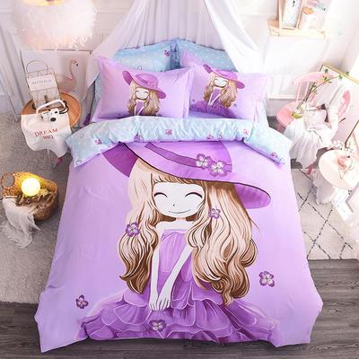 纯棉大版卡通四件套学生宿舍活性儿童三件套 床单床笠1.2m 1.5m 1.8m 床上用品 四件套纯棉 1.8m(6英尺)床 浅紫薇姑娘