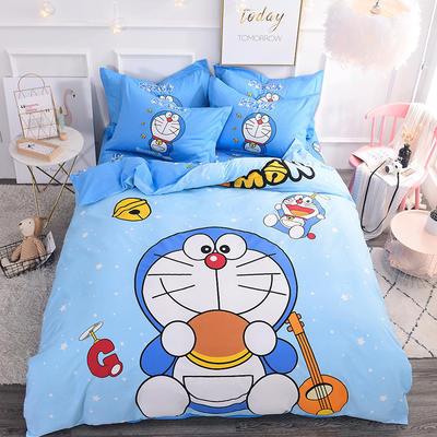 纯棉大版卡通四件套学生宿舍活性儿童三件套 床单床笠1.2m 1.5m 1.8m 床上用品 四件套纯棉 1.8m(6英尺)床 神奇叮当猫