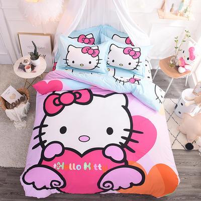 纯棉大版卡通四件套学生宿舍活性儿童三件套 床单床笠1.2m 1.5m 1.8m 床上用品 四件套纯棉 1.8m(6英尺)床 天使猫咪