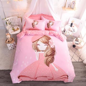 纯棉大版卡通四件套学生宿舍活性儿童三件套 床单床笠1.2m 1.5m 1.8m 床上用品 四件套纯棉