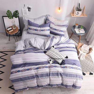 全棉印花四件套 床单纯棉床上用品1.5m1.8m单双人简约活性套件 1.5m(5英尺)床 简凡