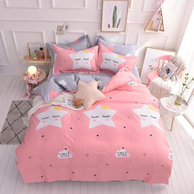 全棉印花四件套 床单纯棉床上用品1.5m1.8m单双人简约活性套件 1.5m(5英尺)床 闪亮星空