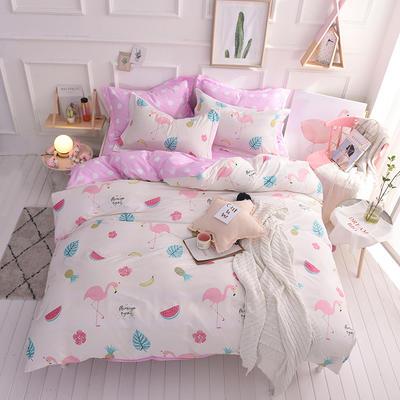 全棉印花四件套 床单纯棉床上用品1.5m1.8m单双人简约活性套件 1.5m(5英尺)床 水果派对