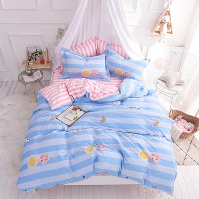 全棉印花四件套 床单纯棉床上用品1.5m1.8m单双人简约活性套件 1.5m(5英尺)床 童年记忆