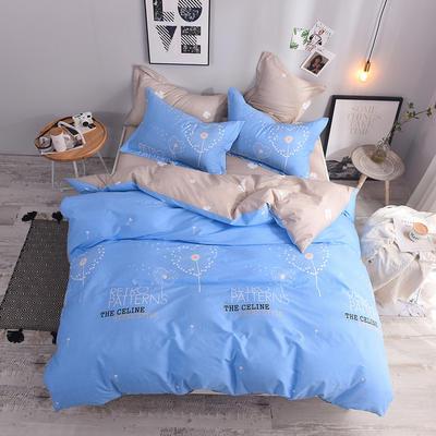 全棉印花四件套 床单纯棉床上用品1.5m1.8m单双人简约活性套件 1.5m(5英尺)床 唯爱
