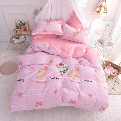 全棉印花四件套 床单纯棉床上用品1.5m1.8m单双人简约活性套件 1.5m(5英尺)床 夏沫