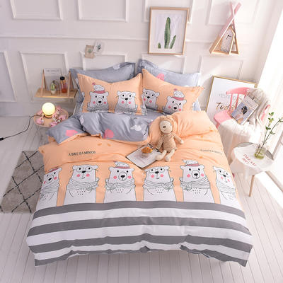 全棉印花四件套 床单纯棉床上用品1.5m1.8m单双人简约活性套件 1.5m(5英尺)床 小伙伴