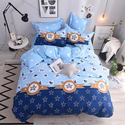 全棉印花四件套 床单纯棉床上用品1.5m1.8m单双人简约活性套件 1.5m(5英尺)床 星时尚