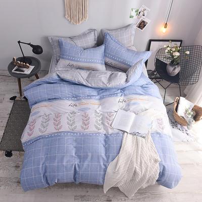 全棉印花四件套 床单纯棉床上用品1.5m1.8m单双人简约活性套件 1.5m(5英尺)床 叶语