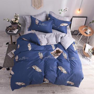全棉印花四件套 床单纯棉床上用品1.5m1.8m单双人简约活性套件