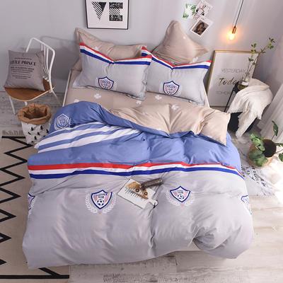 全棉印花四件套 床单纯棉床上用品1.5m1.8m单双人简约活性套件 1.8m(6英尺)床 魅力足球