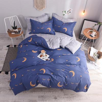 全棉印花四件套 床单纯棉床上用品1.5m1.8m单双人简约活性套件 1.5m(5英尺)床 甜梦