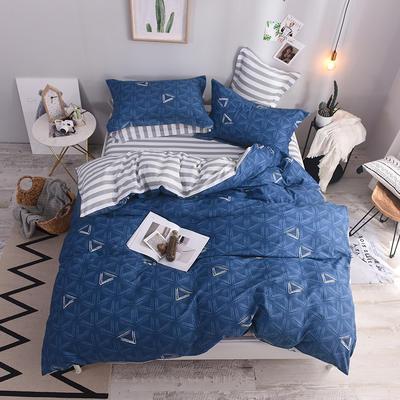 全棉印花四件套 床单纯棉床上用品1.5m1.8m单双人简约活性套件 1.5m(5英尺)床 婉菲