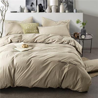 纯棉四件套水洗棉四件套床单床笠款全色套件 2.0m(6.6英尺)床 (红驼)