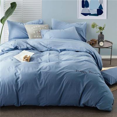 纯棉四件套水洗棉四件套床单床笠款全色套件 1.5m(5英尺)床 (兰)
