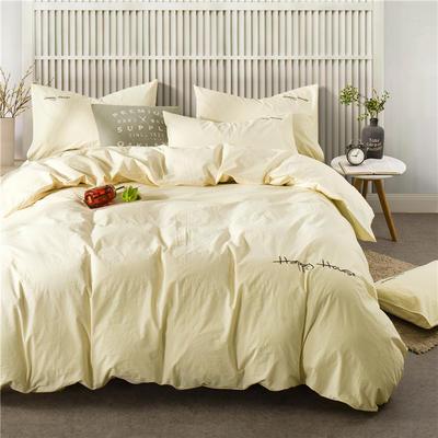 纯棉四件套水洗棉四件套床单床笠款全色套件 1.5m(5英尺)床 (米黄)